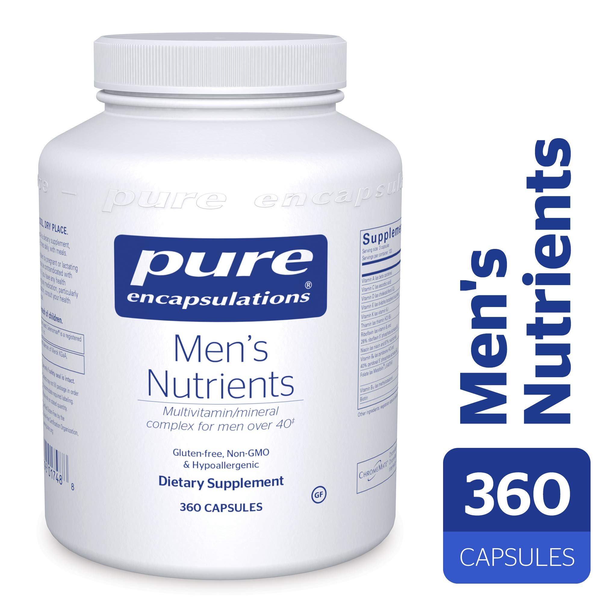 Pure Encapsulations - Men's Nutrients - Hypoallergenic Multivitamin/Mineral Complex for Men Over 40-360 Capsules