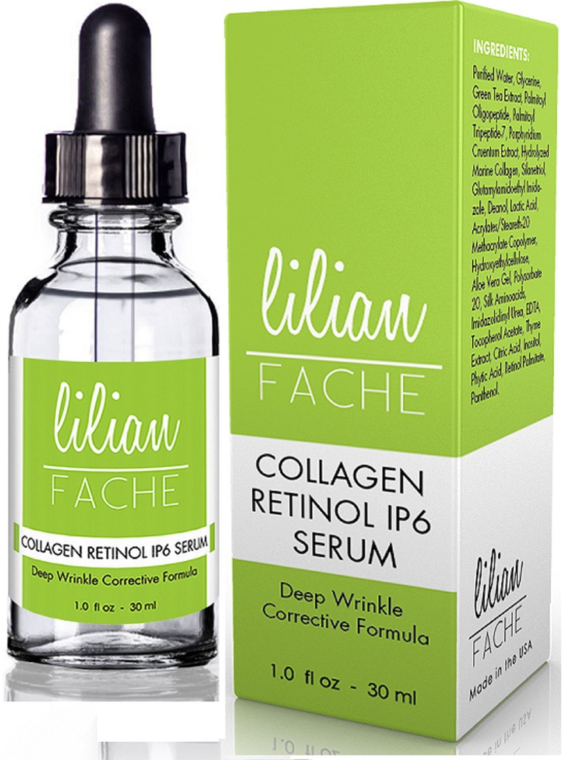 Fine Line and Wrinkle Repair Correction Collagen Retinol IP-6 Serum From Lilian Fache, Clinical Strength Anti Aging Serum - The Best Anti Wrinkle Serum - 30ml