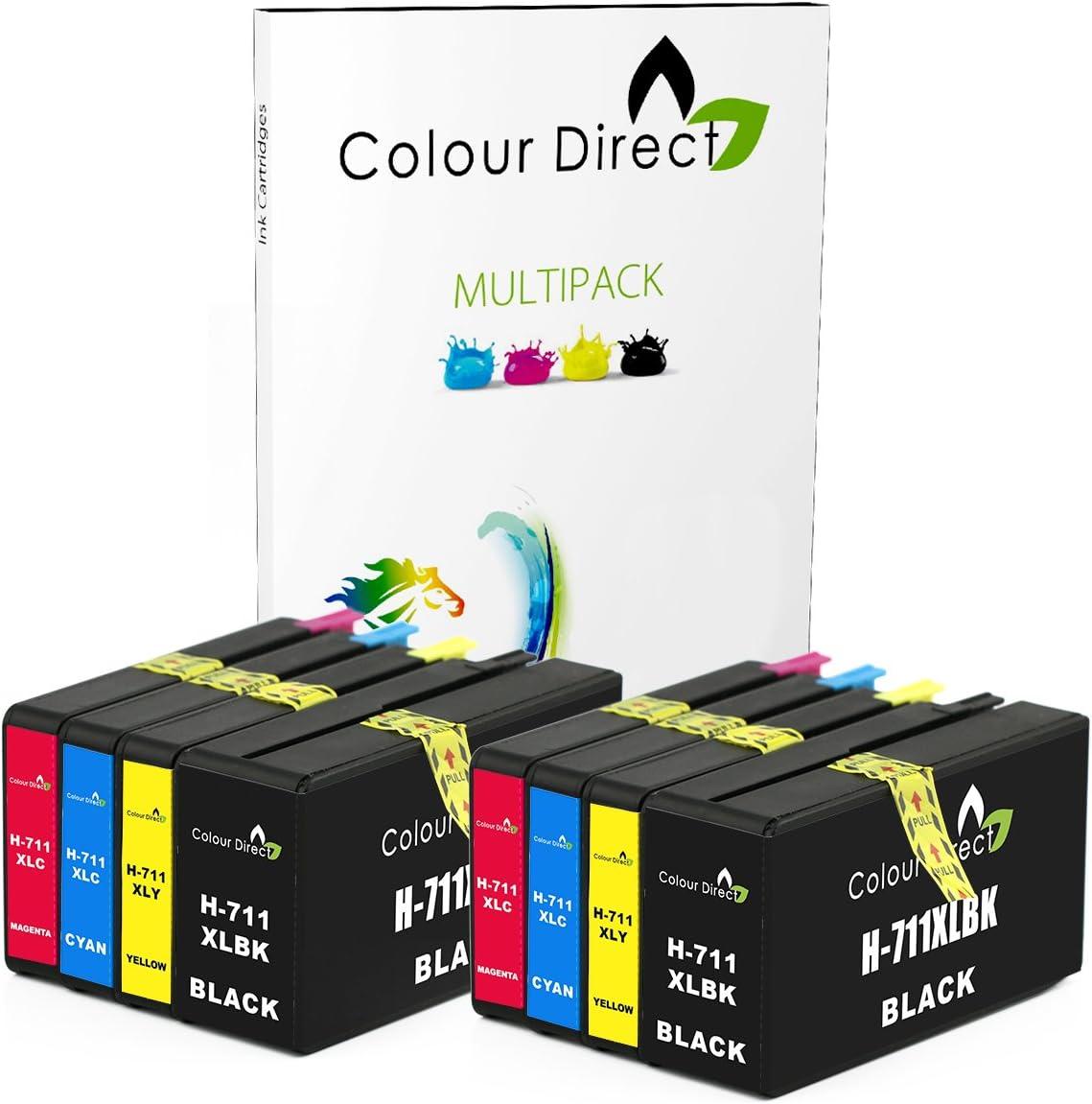 Colour Direct - 5 (1 Conjunto + 1 Negro) Compatible Cartuchos de Tinta Reemplazo por HP 711 Designjet T120, T520 Impresoras (CZ129A, CZ130A, CZ131A, CZ132A): Amazon.es: Electrónica