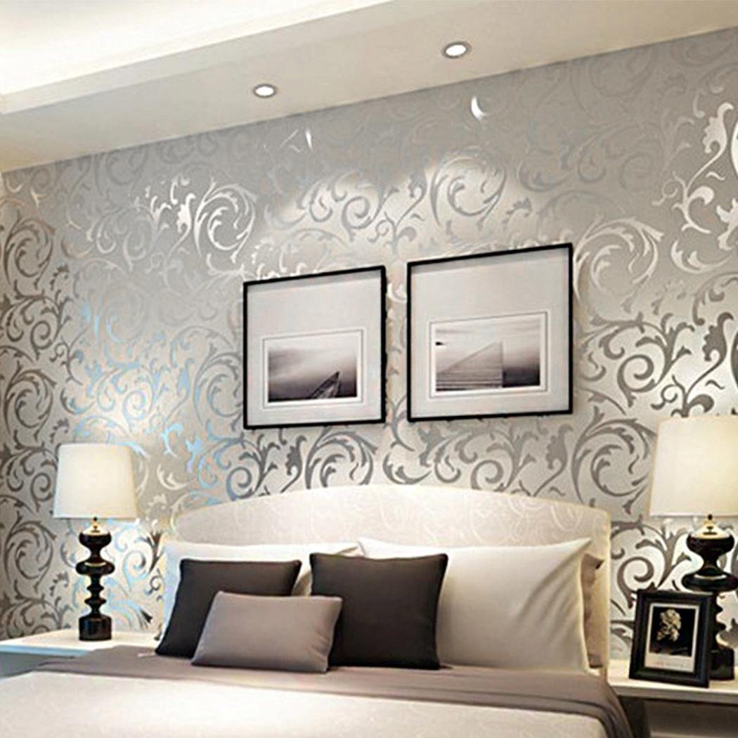 Meflying 3D Non-Woven Wallpaper Print Embossed Wall Decor Sticker, Damask Luxury Textured Pattern Home Wallpaper for Home (US Stock) (Silver)
