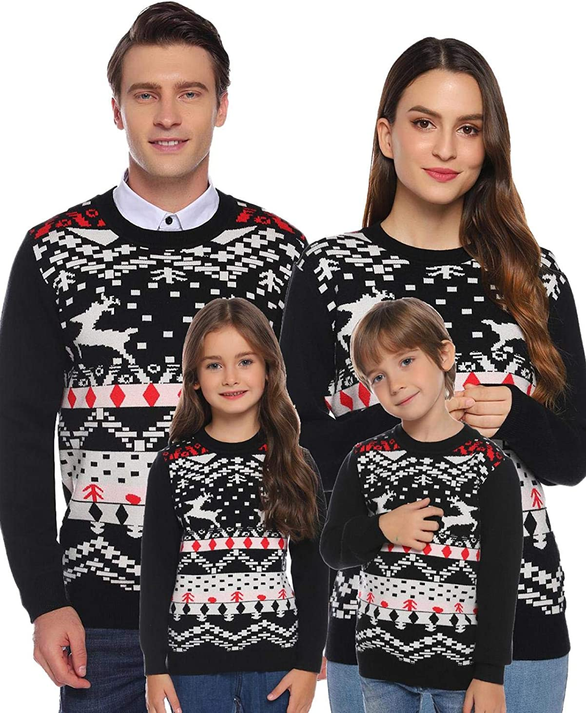 Akalnny Family Matching Christmas Sweaters Ugly Reindeer Snowflakes Cute Knitted Sweaters Pullover Men Women Kids At Amazon Men S Clothing Store
