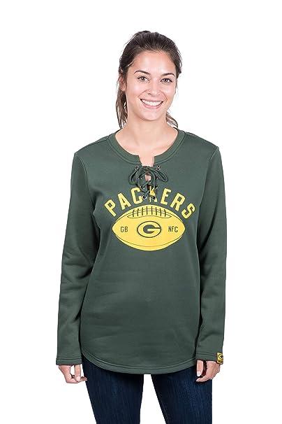 online retailer 511d2 3a508 Icer Brands NFL Green Bay Packers Women's Fleece Sweatshirt Lace Long  Sleeve Shirt, Green, Large
