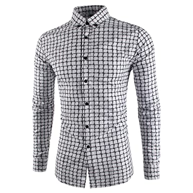 Mada Mens Casual Shirts Long Sleeve Slim Fit Dress Shirt at Amazon ...