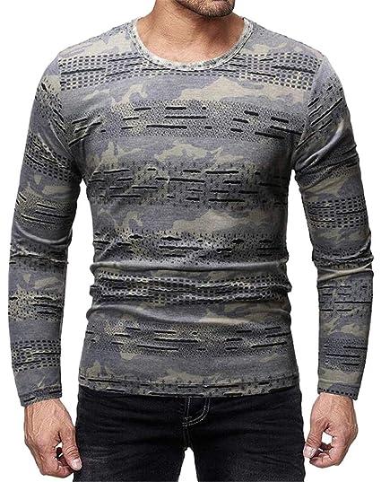 4c099d8d3aba CRYYU Men Camo Print Ripped Distressed Crew Neck Hollow Out Long Sleeve T-Shirt  Tee