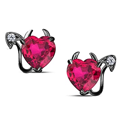 dfd588280aa Gothic Vampire Bat .925 Sterling Silver 14k Black Gold Plated CZ Ruby Stud  Earrings Fashion