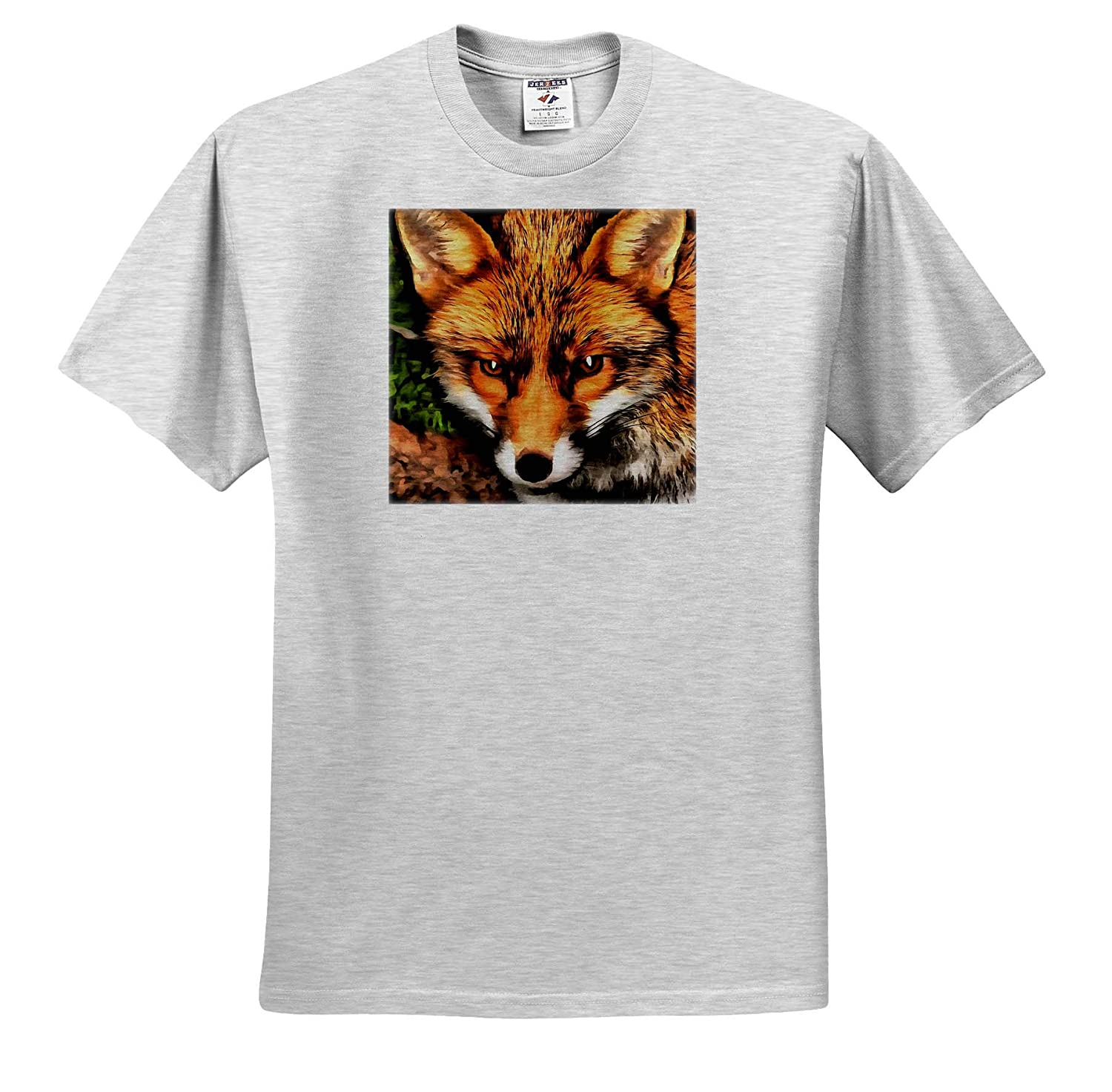 3dRose Taiche Fox Acrylic Painting T-Shirts Red Fox