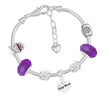 3926d5f69 ... low price mothers day step mum purple crystal pandora style bracelet  with charms gift box 4cb4b