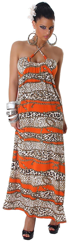 Graffith Damen Neckholder-Maxikleid extra lang mit buntem Muster Einheitsgröße (32-38)