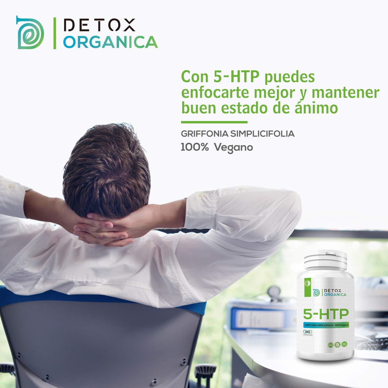 Detox Organica 5HTP 200 mg-180 Cápsulas de Alta Dosificación | 5-HTP Vegano de Extracto de Griffonia Simplicifolia | Complemento Alimenticio 5HTP Capsulas ...