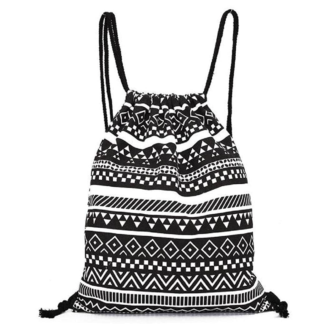 Fami Unisexe Retro géométrique Impression Drawstring Backpack (Noir)