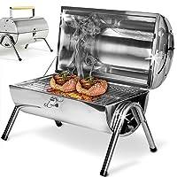 Special Grill Silber kleiner Exclusive Camping Balkon Picknick ✔ Deckel ✔ rund ✔ tragbar ✔ Grillen mit Holzkohle ✔ für den Tisch