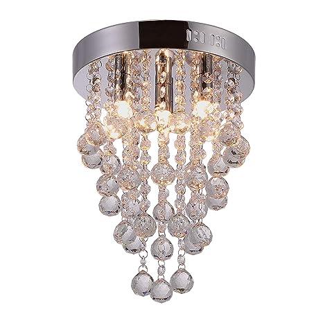 Riomasee Modern Crystal Raindrop Chandelier Lighting Mini Ceiling Chandelier Fixtures 4 Lights Flush Mount Ceiling Light For Girls