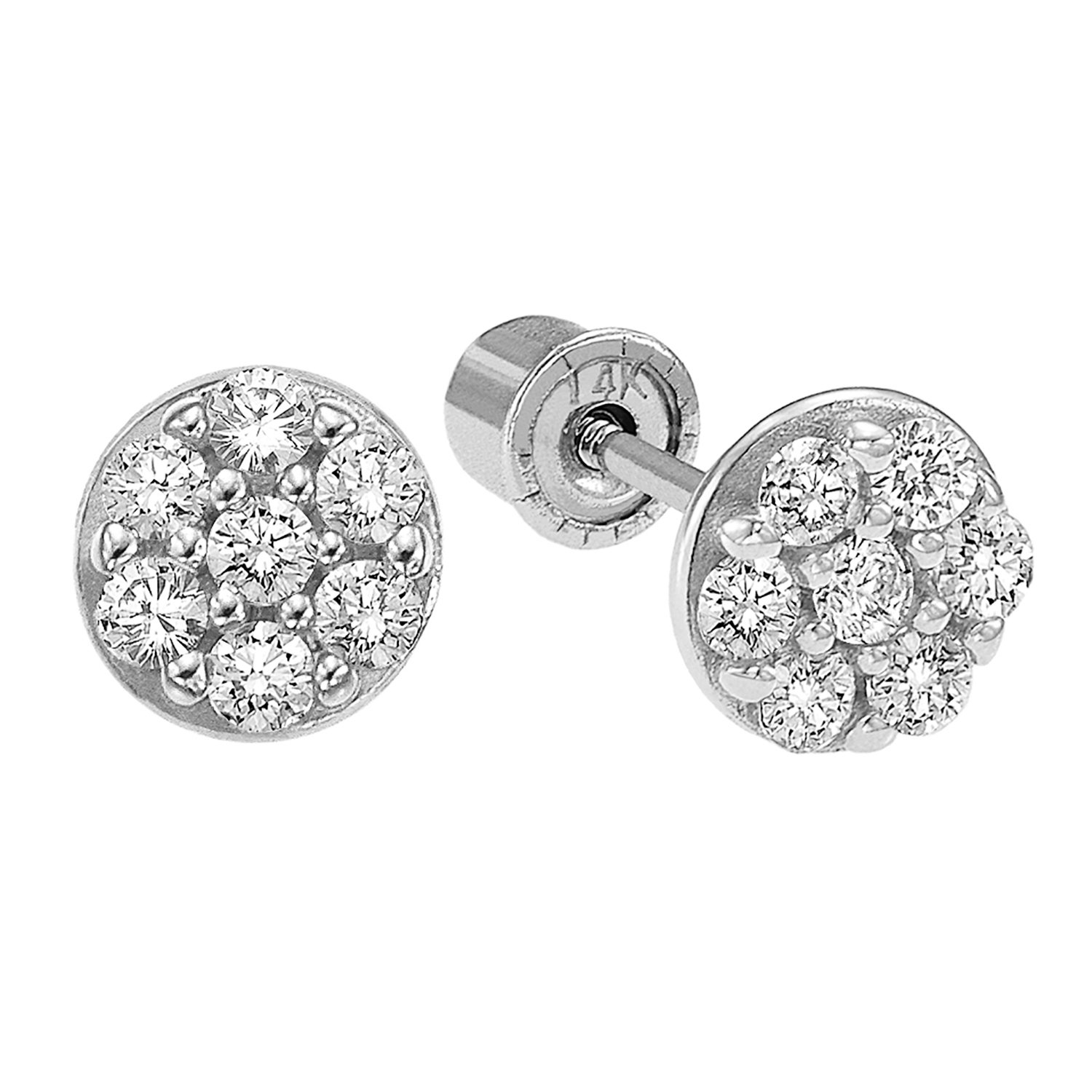 14k Gold Small Round CZ Stud Earrings with Secure Screwbacks