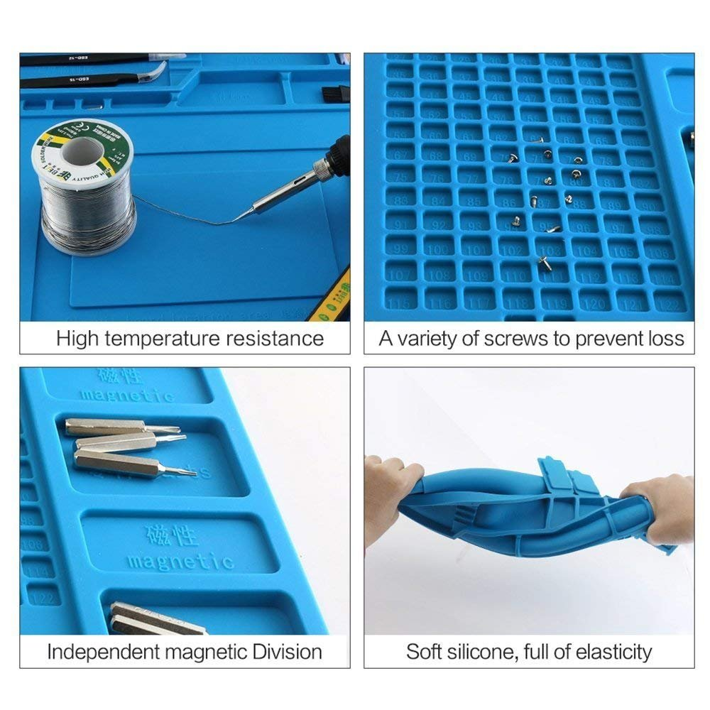 Heat Work Pad with Silicone Magnetic soldering Mat Large Pad Including Heat Resistant Maintenance Mat, Anti-static Tweezers and Screwdrivers for Soldering Iron, Phone and Computer Repair by AIFUSI (Image #2)