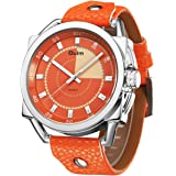 Lady Wrist Watch, Aposon PU Leather Band Stylish Watches for Girls Dress Casual Fashion Analog Quartz Watch with Luminous Hands Water Resistant Orange