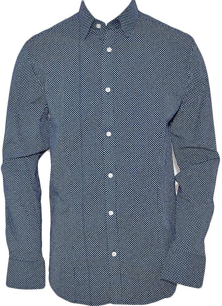 Camisa hombre algodón azul cuello rígido manga larga motivo abstracto azul noche cierre botones moda turquesa L: Amazon.es: Ropa y accesorios