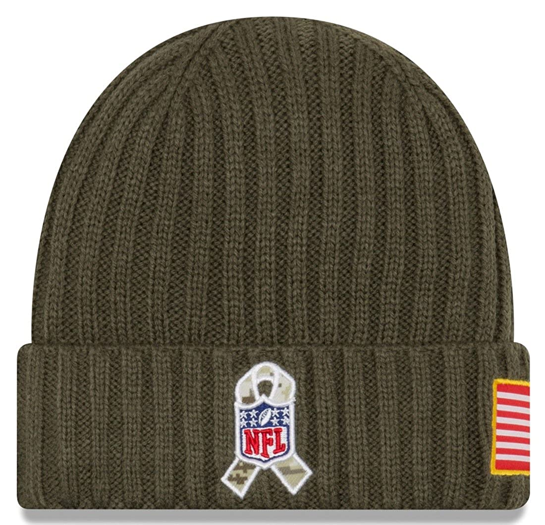 c61d9cab8b3 New Era Men s Men s Giants 2017 Salute to Service Cuffed Knit Hat Olive  Size One Size at Amazon Men s Clothing store