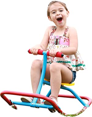 SLIDEWHIZZER Kids Rocking Chair Seesaw Rider: Safe Home Playground Backyard Equipment, Rocker Single Teeter Totter for Youth Junior Kids. (Kid First Seesaw)