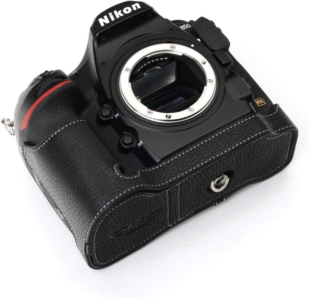 Coffee Hand Strap BolinUS Handmade Genuine Real Leather Half Camera Case Bag Cover for Nikon D850 Camera Bottom Opening Version Nikon D850 Camera Case