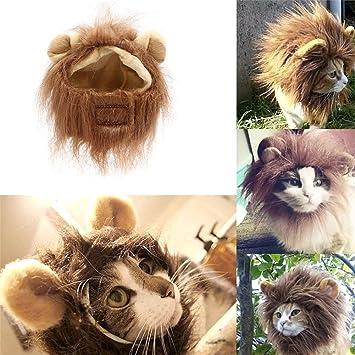 Mallalah León Melena de Mascota Gato Sombrero Peluca del León para el Perro o el Gato