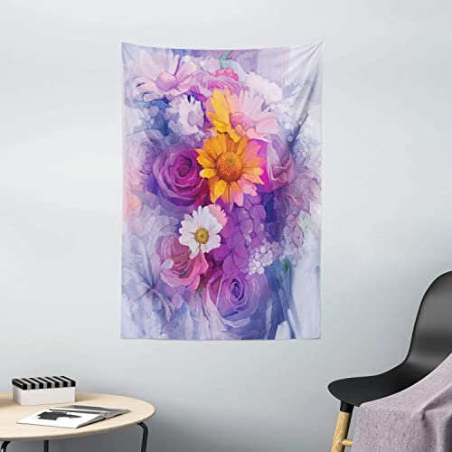 Ambesonne Watercolor Flower Tapestry, Bouquet of Rose Daisy and Gerbera Flowers Impressionist Style, Wall Hanging for Bedroom Living Room Dorm Decor, 40 X 60 , Brown Purple