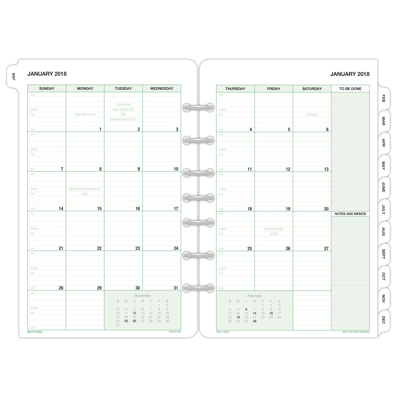 Day-Timer Refill 2018, Two Page Per Month, January 2018 - December 2018, 5-1/2 x 8-1/2, Loose Leaf, Desk Size, Classic (87229-1801) 5-1/2 x 8-1/2 ACCO Brands