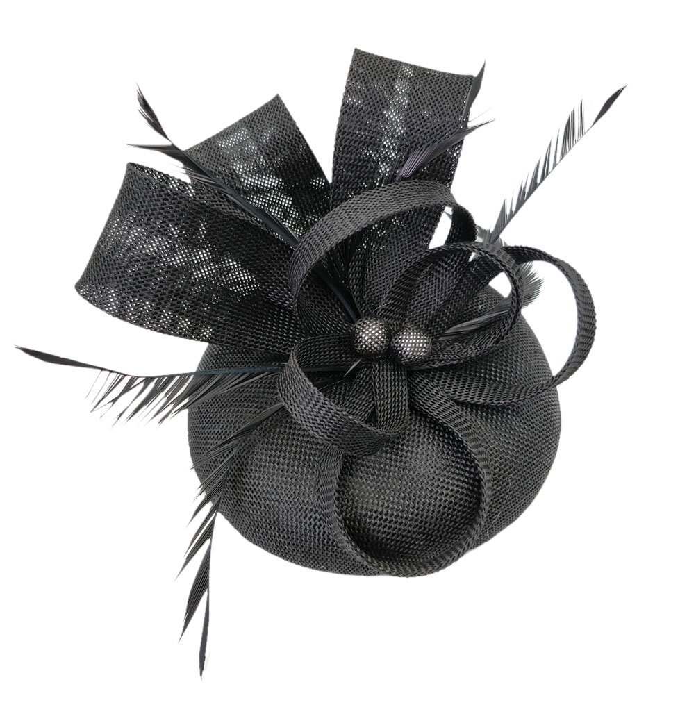 Ahugehome Fascinator Headband Hair Clip Feather Pillbox Hat Mesh Cocktail Party Wedding (KB Black)