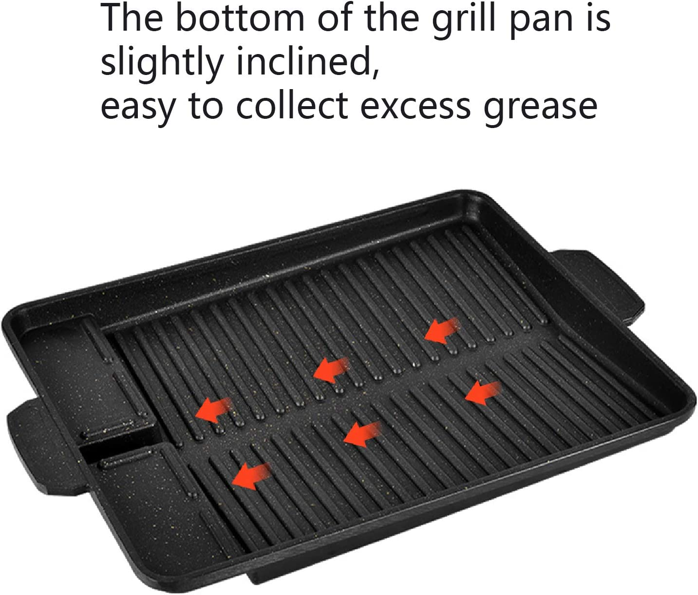 black IAXSEE Grill Pan For Stovetop with Dual Handles|Korean Non-stick barbecue tray|Stove Top Grill,Square Grilling Pan with Grease Draining System