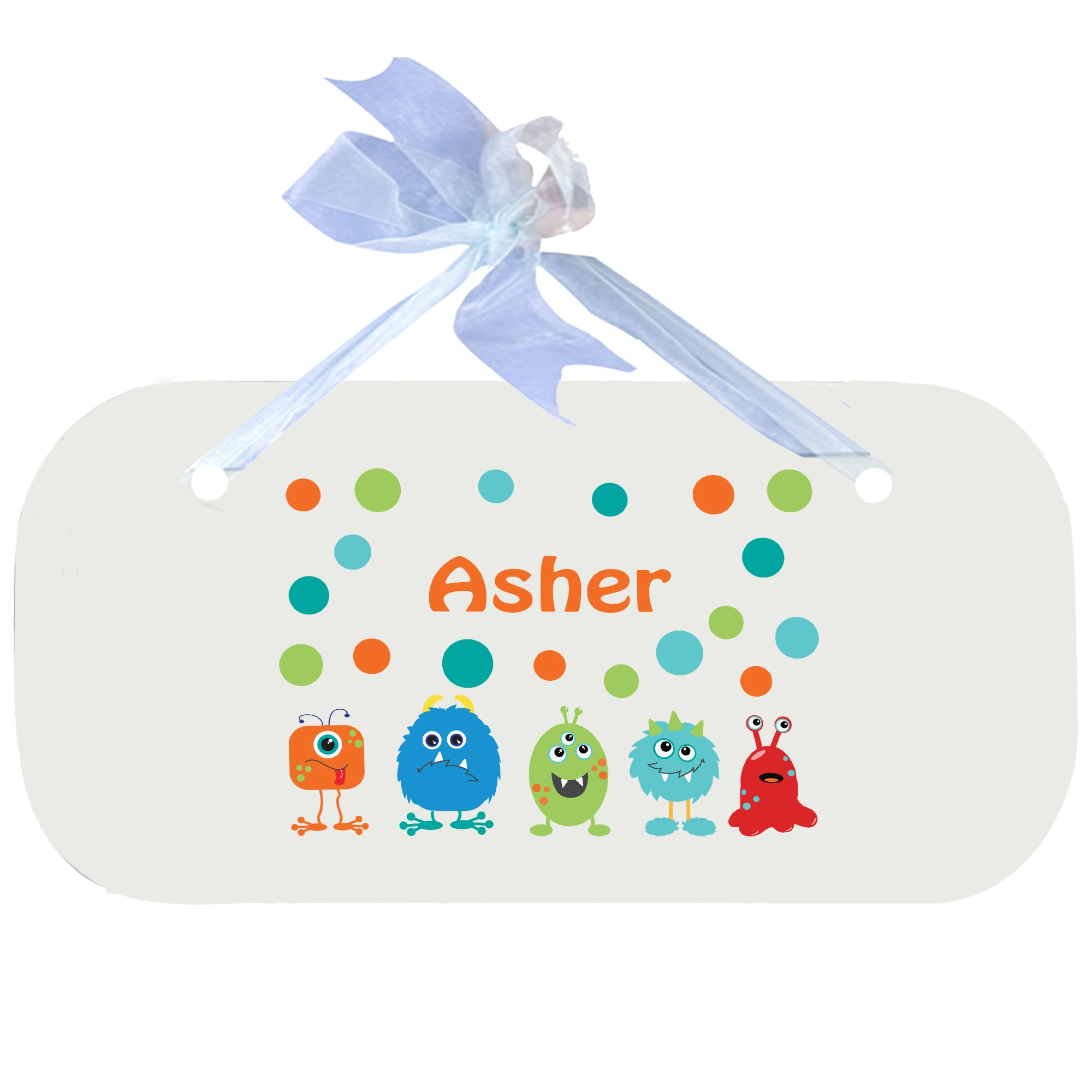 Personalized Monster Mash Nursery Door Hanger Plaque with Blue Ribbon