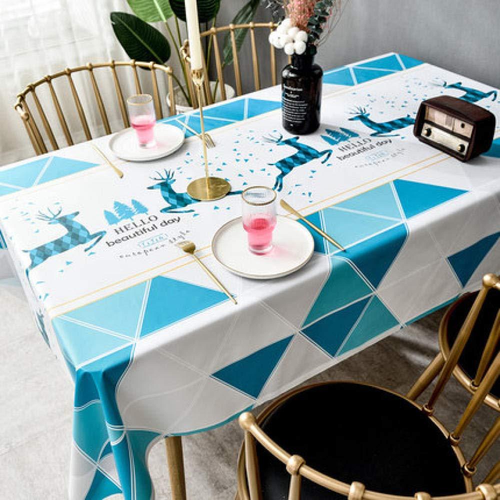 WJJYTX Wachstuch tischdecke, Tischdecke zurTischreinigungTischdecke aus PVC,ölbeständig/ wasserdicht, schmutzabweisend Blue Square @ 140 * 200