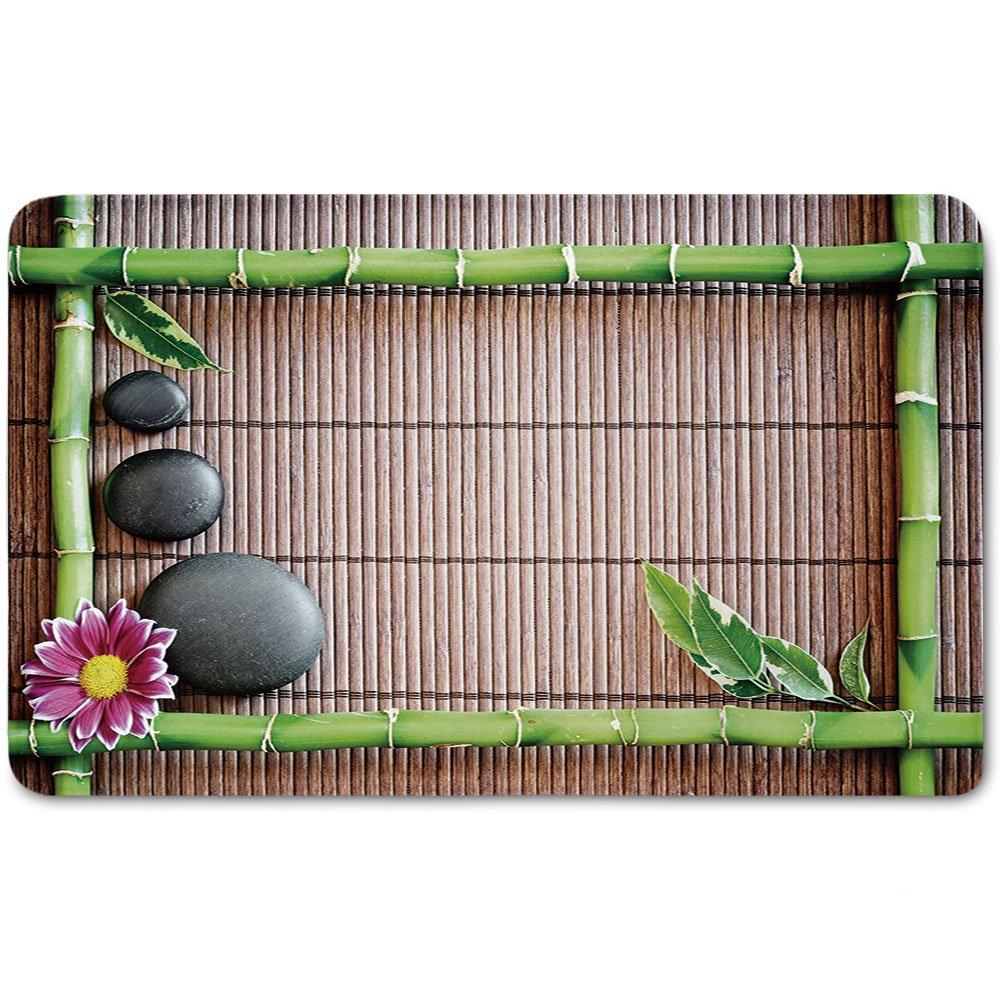 Memory Foam Bath Mat,Meditation,Spa Frame with Spiritual Stones Bamboo Stems Orchid Petals Yoga Zen PhilosophyPlush Wanderlust Bathroom Decor Mat Rug Carpet with Anti-Slip Backing,Multicolor