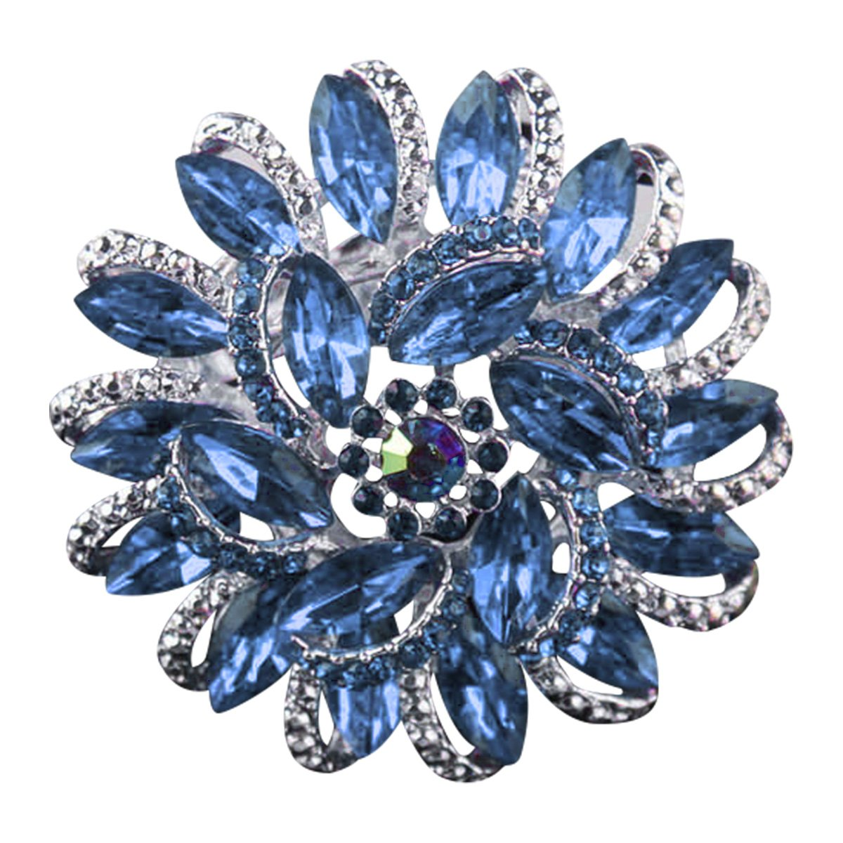 Ailer Happy Deal 70% Discount Brooch for Wedding Flower Shape Created Crystal Rhinestone Corsage Brooches Pin for Women-Sky Blue