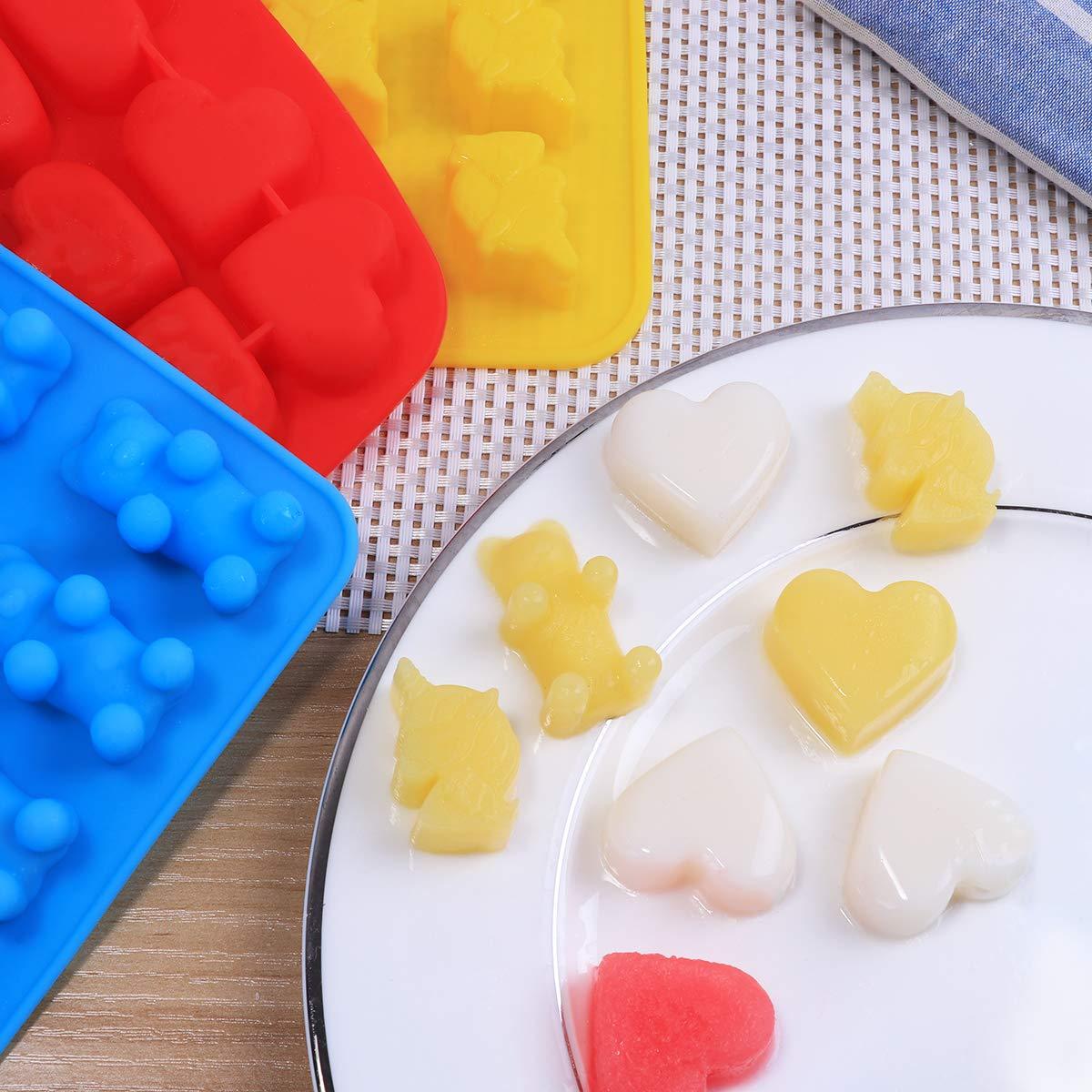 bestonzon 3/PCS stampi per Dolci Silicone unicorno Orso CUORE stampo Grado di cibo antiaderente stampo di ghiaccio Cioccolato con 3/gocciolatori