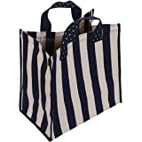 KangFa Stylish Grocery Shopping Bag Casual Canvas Tote for Women (Blue/White Stripe)