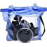 Tongshi Waterproof Case DSLR cámara digital subacuática bolso de la bolsa para Canon para Sony(azul)