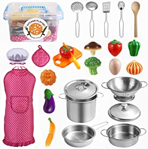 Tigerhu 26 Pieces Kids Kitchen Pretend Play Toys with Stainless Steel Cookware Pots and Pans Set, Cooking Utensils, Apron & Chef Hat and Cutting Vegetables, Great Learning Gifts for Toddler and Kids