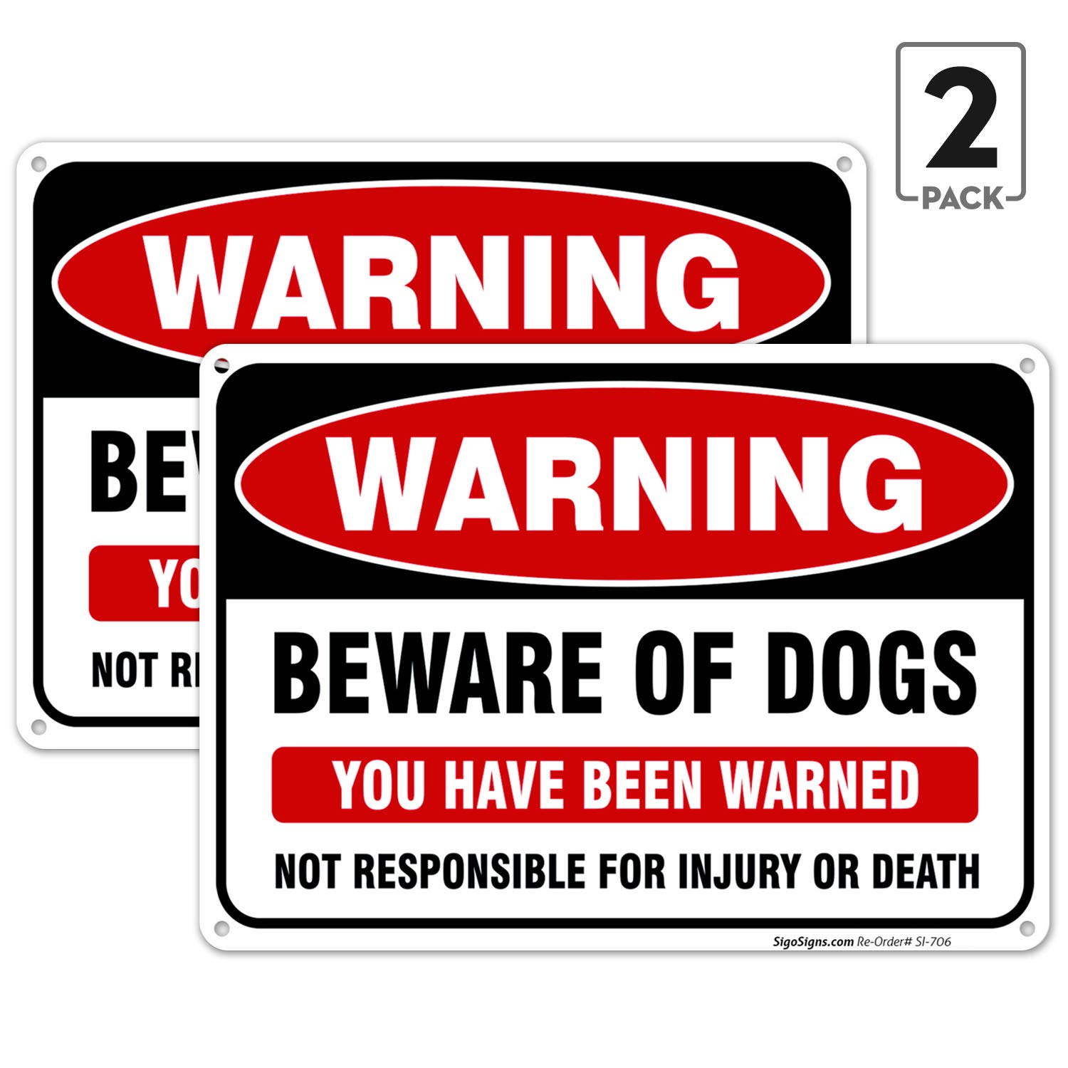 (2 Pack) Beware of Dog Sign, 10x7 Rust Free .040 Aluminum, UV Printed, Easy to Mount Weather Resistant Long Lasting Ink Made in USA by SIGO SIGNS