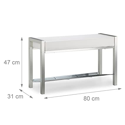 amazoncom relaxdays shoe rack metal upholstered seat shoe bench shoe storage drawers h x w x d 47 x 80 x 31 cm white kitchen u0026 dining