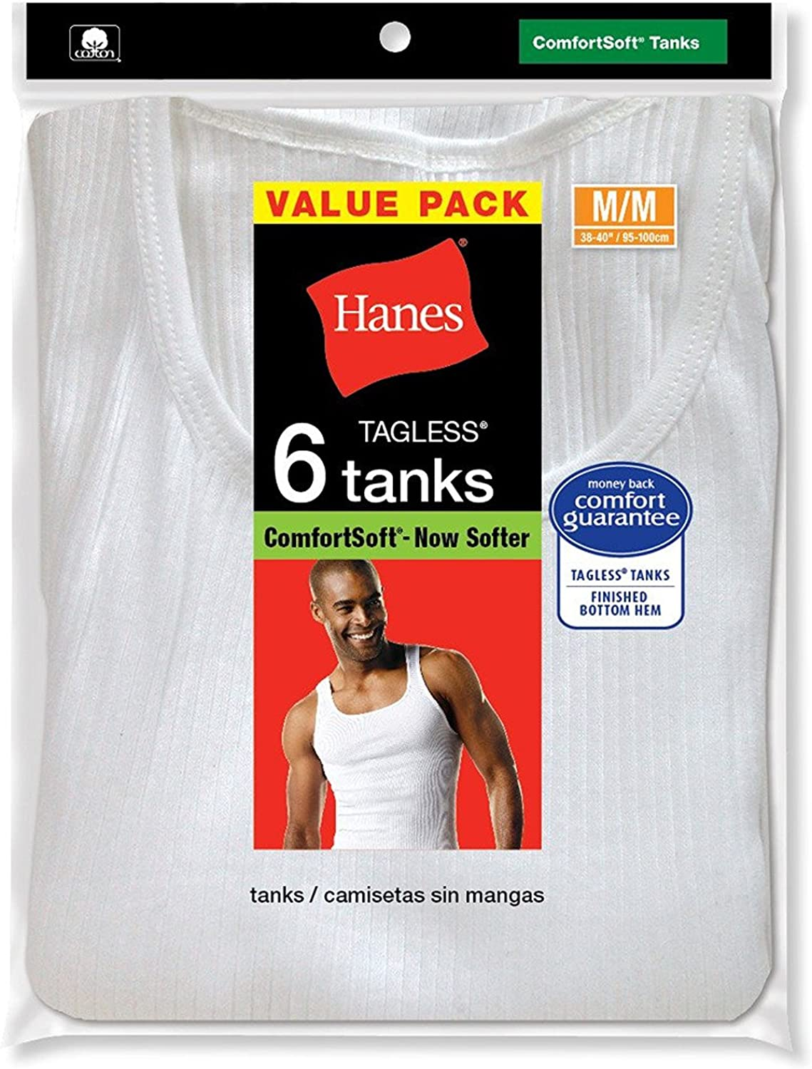 Hanes Men's 100% Cotton White A-Shirts Tagless Undershirts Tanks Tank Tops