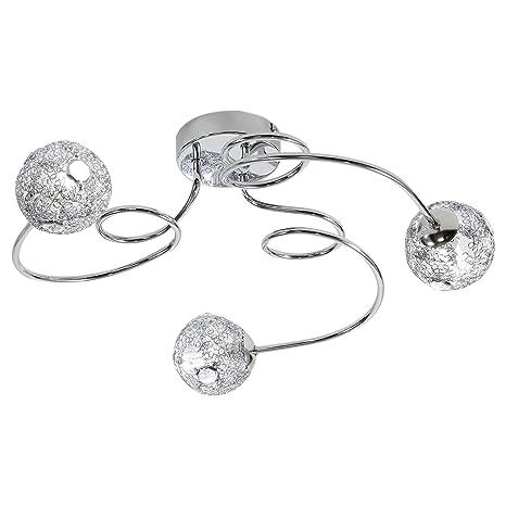 HOMCOM Lámpara de Techo con Bolas Cristal Focos Giratorios Luces LED Moderno 3 Bombillas G9 25W