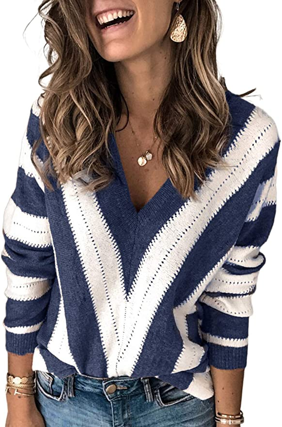 Asvivid  V Neck Backless Knitted Sweater