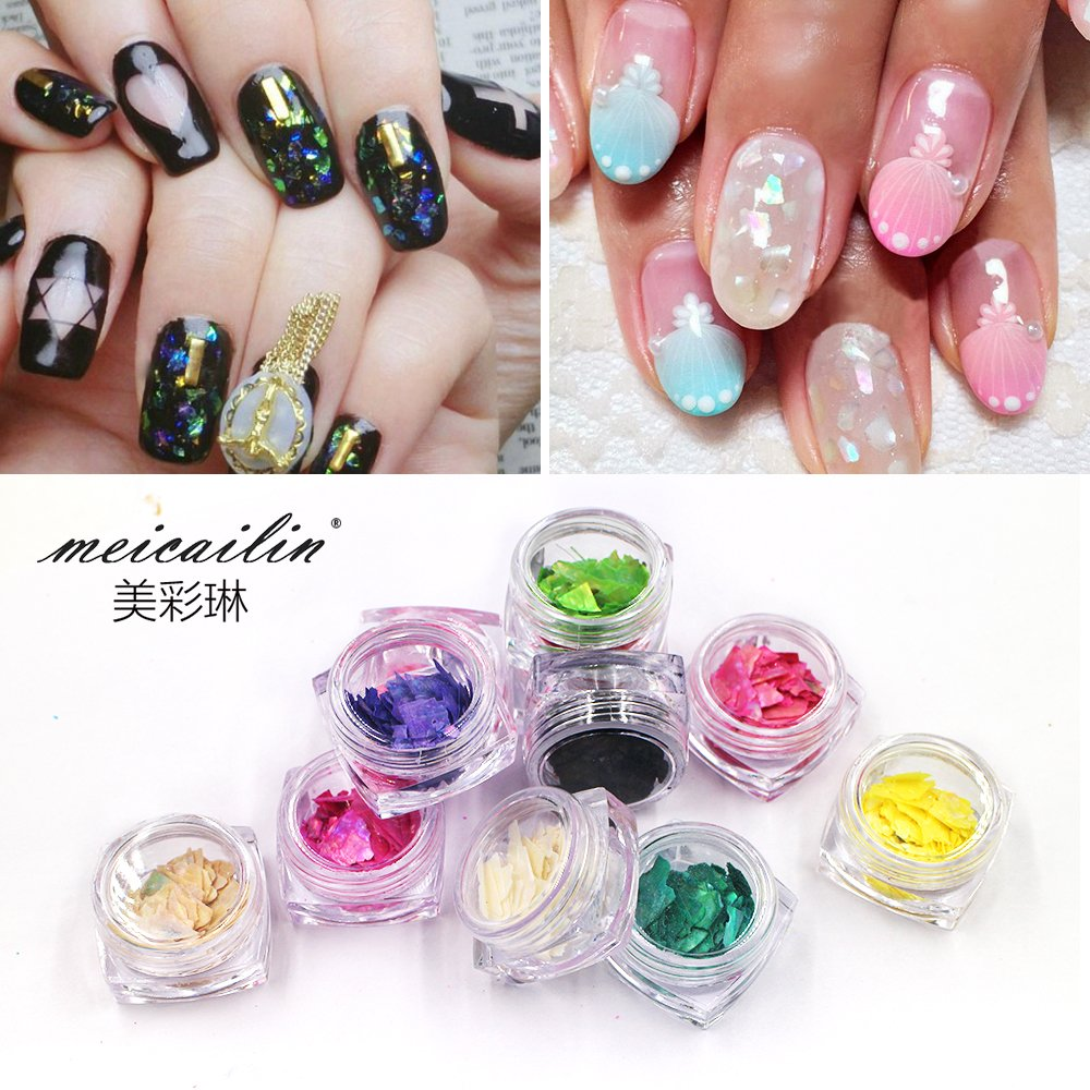 12 Colors Nail Glitter Ice Mylar Shell Foil Slice Nail Art Decoration Tools (12 color) Guangzhou Sindy Comestic Co. Ltd ZX:BY03