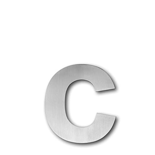 qt modern house number extra large 75 inch brushed stainless steel letter c