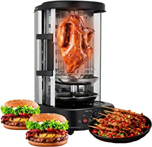Shawarma Machine Vertical Broiler Gyro Rotisserie Electric Rotating Grills Barbecue Machine for Commercial Home Kitchen 304 Stainless Steel Heating Tube Design Timing Controllable1380W