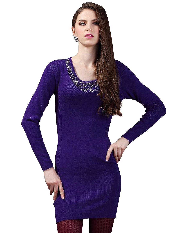Maxchic Women's Embellished Neckline Fine-knit Sweater Dress Q42029C10M