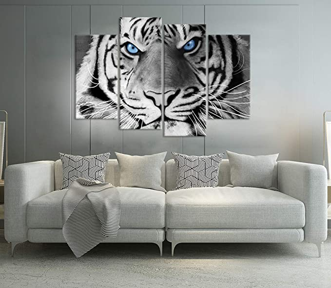 ZingArts 4 Panel Animal Canvas Wall Art Black and White Ferocity Tiger with Blue Eyes Wildlife Picture Painting on Canvas Stretched and Framed for Home Office Bedroom Decor Ready to Hang ZA0029