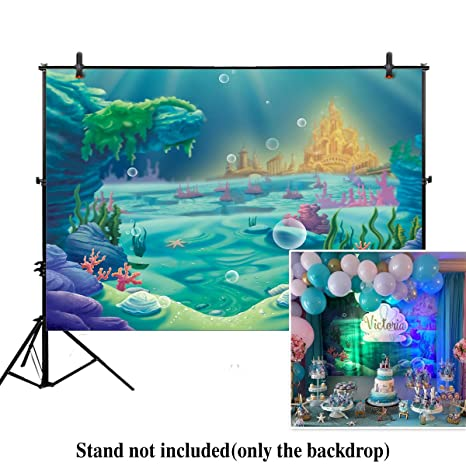 Allenjoy 7x5ft Photography Under The Sea Little Mermaid Backdrop Ocean Nautical Birthday Party Banner Photo Studio