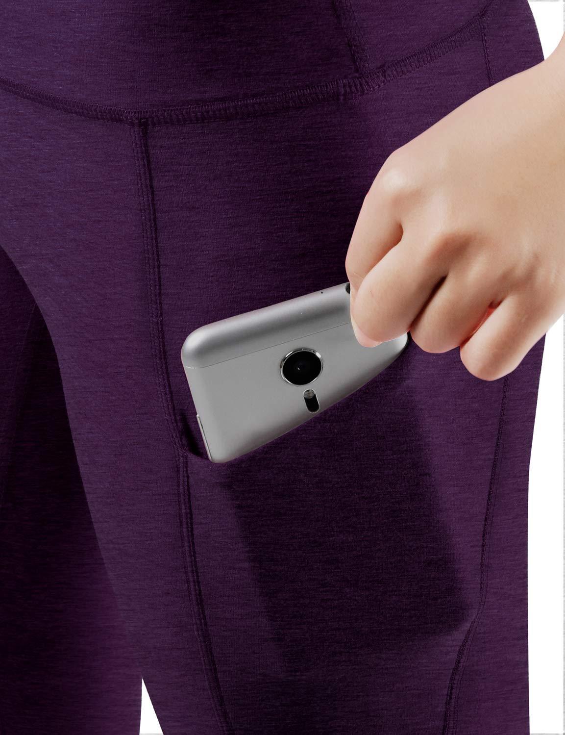 ODODOS High Waist Out Pocket Yoga Capris Pants Tummy Control Workout Running 4 Way Stretch Yoga Leggings,DeepPurple,X-Small by ODODOS (Image #4)