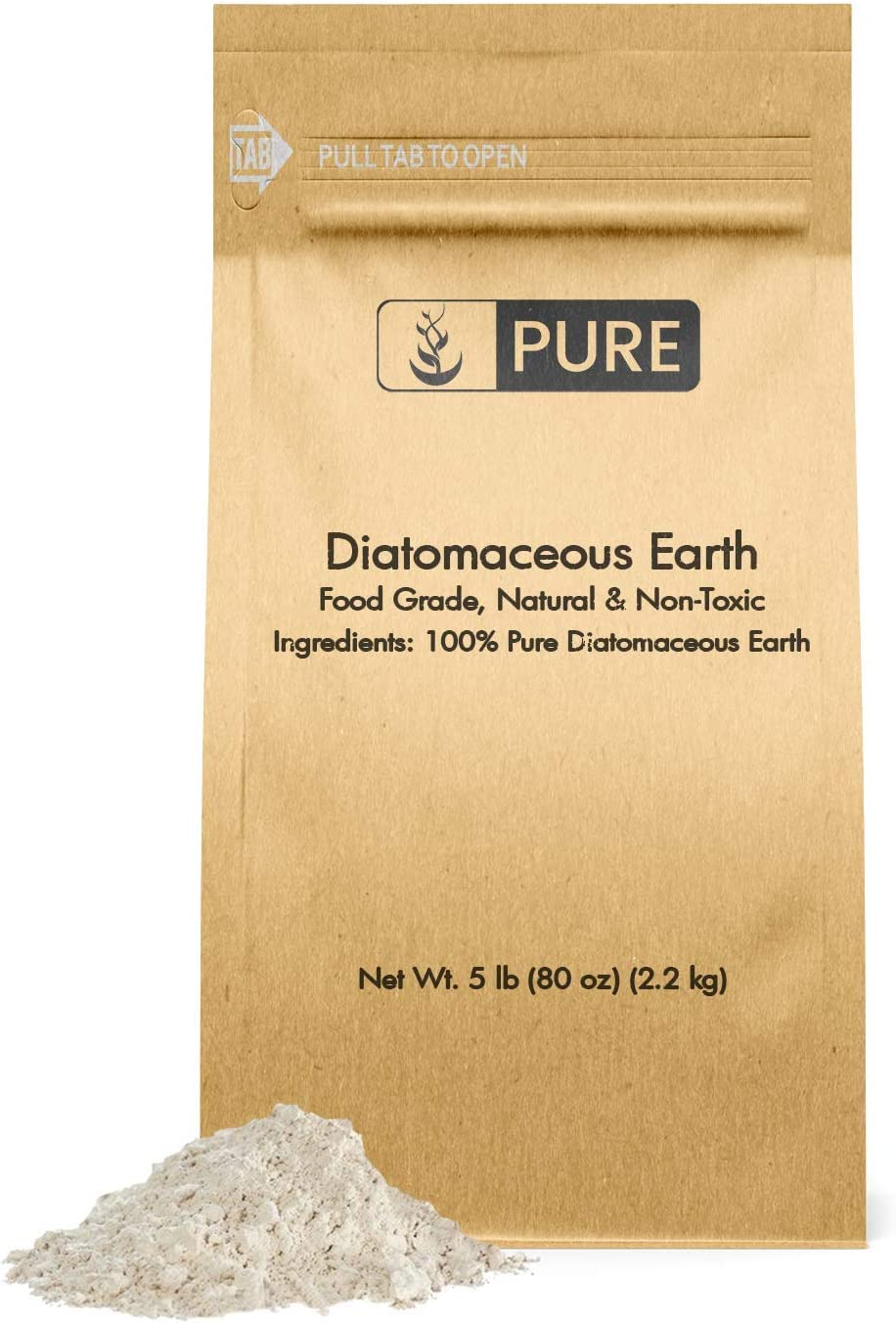 Pure Organic Ingredients Diatomaceous Earth (5 lb) Natural Multipurpose Household Essential, Made in The USA, Eco-Friendly Packaging