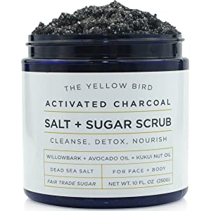 Natural Activated Charcoal Body & Face Scrub. Exfoliating Dead Sea Salt & Sugar Scrub. Deep Cleansing Pore Minimizer. Anti Cellulite, Acne, Blackhead, Scars, Wrinkle Treatment.